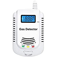 KOABBIT Plug-in Carbon Monoxide & Explosive Gas Detector 2 in 1,Home Kitchen Methane,Propane,Compound Alarm;Charging or 9V Rechargeable Battery (Not Included) Voice Alarm with LED Display