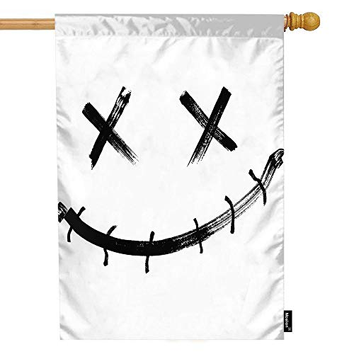 Moslion Joker House Flag Horror Clown Face with Evil Smile for Halloween Garden Flags 28x40 Inch Double-Sided Banner Welcome Yard Flag Home Outdoor Decor. Lawn -