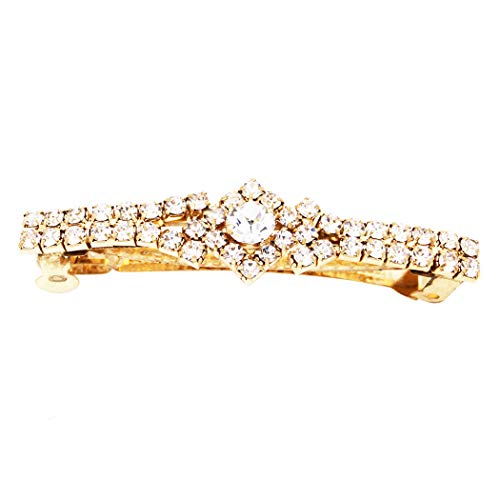 - Rosemarie Collections Women's Crystal Hair Clip Rhinestone Barrette Hair Accessories Large Round Center (Gold Tone/Clear Crystal)