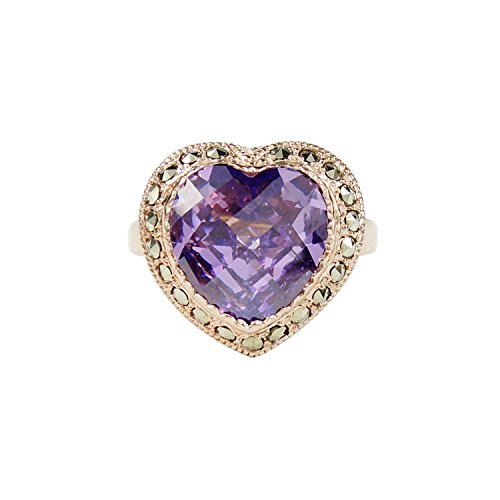 - Aura 925 Sterling Silver Ring Amethyst Cz, Marcasite With Rose Gold Plated #7
