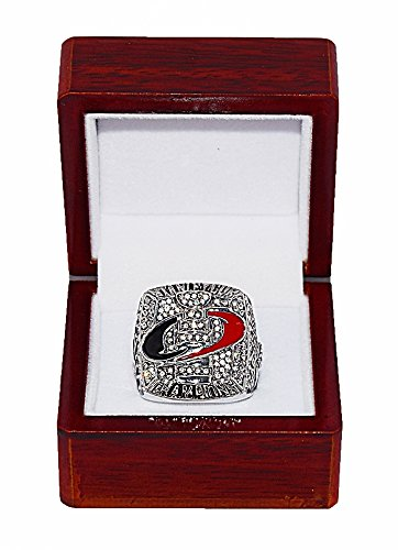 CAROLINA HURRICANES (Cam Ward) 2006 STANLEY CUP FINALS WORLD CHAMPIONS Rare & Collectible Replica National Hockey League Silver NHL Championship Ring with Cherrywood Display Box