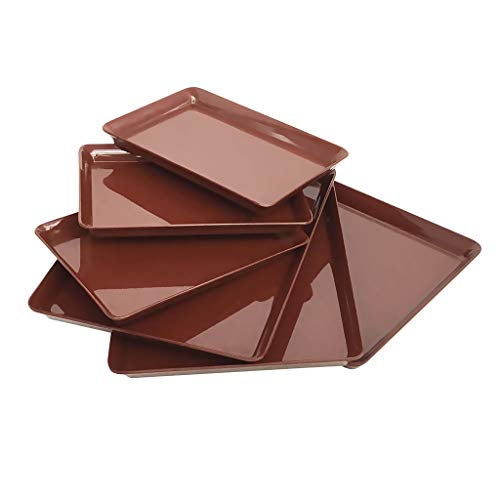 - GWPP Melamine Plastic Serving Tray, Set of 3 in 2 assorted sizes. for restaurant indoor or outdor picnic camping. T9854 (Burgundy)