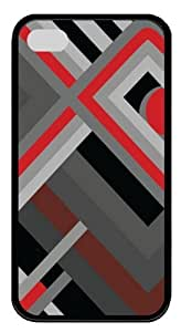 Grey And Red Square Pipes TPU Case Cover Protector Compatible with iPhone 4/4S Black
