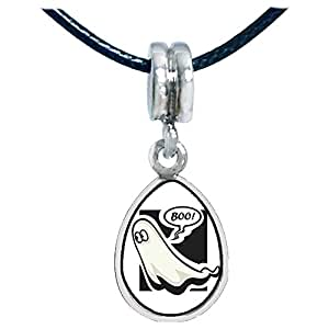 Chicforest Silver Plated Halloween ghost boo Photo Angel Tears Charm Beads Fits Pandora Bracelets