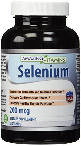 Amazing Nutrition Selenium * 200mcg Natural Selenium Yeast * 240 Tablets Per Bottle  * Promotes Cell Health, Immune Function, Cardiovascular Health and Healthy Thyroid Function and more.