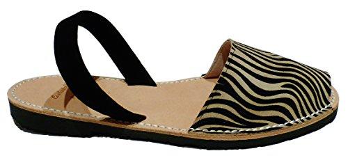 Tira Vari Avarcas Minorca Autentici Zebra Leopardo Colori Sandali Di Cebra E Oscura Negra Menorquínas 7qwXnUt