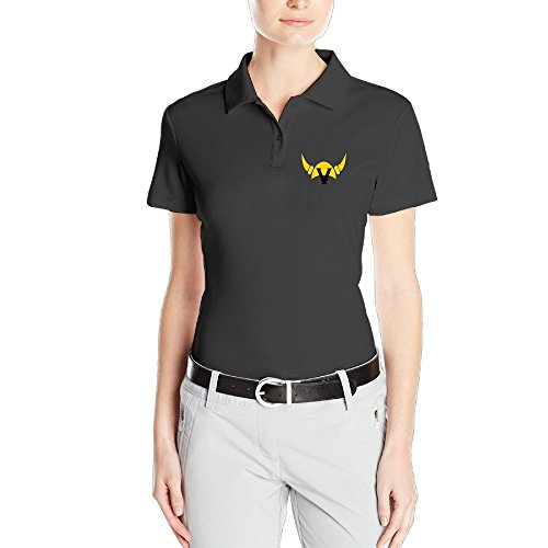 MZONE Women's Minnesota Football Team Helmet Black V Fashion Polo Short-Sleeve Tee -
