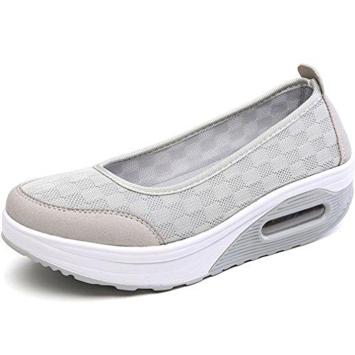 (Orlancy Women's Lightweight Breathable Shape Ups Platform Mesh Sporty Slip On Loafers Grey)