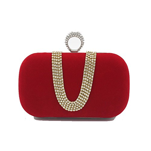 Rabbit Mommy Blue Lovely up Handbag Red Handbag Make Elegant Color Handbag Rhinestone Womens Royal Evening Bride's dxwaWRwqCS