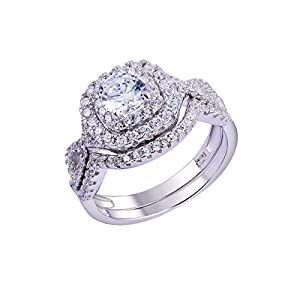 Newshe 1.8Ct Round White Cz 925 Sterling Silver Wedding Band Engagement Ring Sets Size 5-10 from Newshe Jewellery