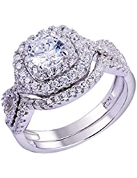 e81e63857 Newshe Wedding Band Engagement Ring Set for Women 925 Sterling Silver 1.8Ct  Round White AAA · Newshe Jewellery