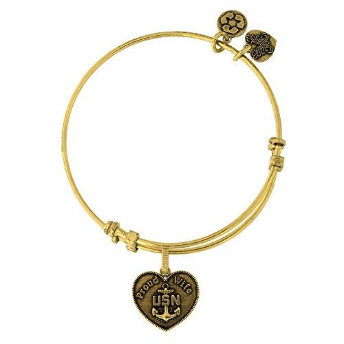 Angelica Brass U.S. Navy Proud Wife Charm Bangle Bracelet -  Beauniq