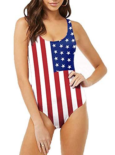 Dasbayla Women's Sleeveless Tank Top Bodysuits Stars and Stripes Thong Jumpsuit Romper XL