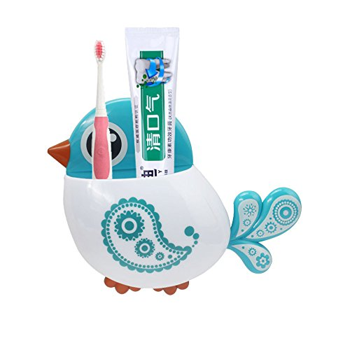 Oksale® Toothbrush and Toothpaste Holder Mount Set ,Creative Bird Pattern Wall Suction Bathroom Organizer Cup with Sucker (Blue)