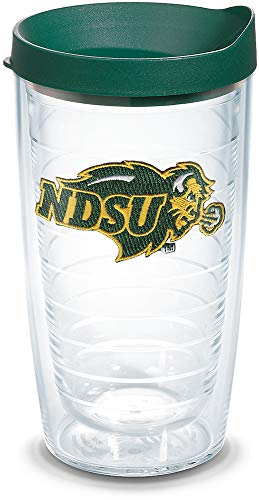 Tervis 1086002 North Dakota State Bison Logo Tumbler with Emblem and Hunter Green Lid 16oz, Clear