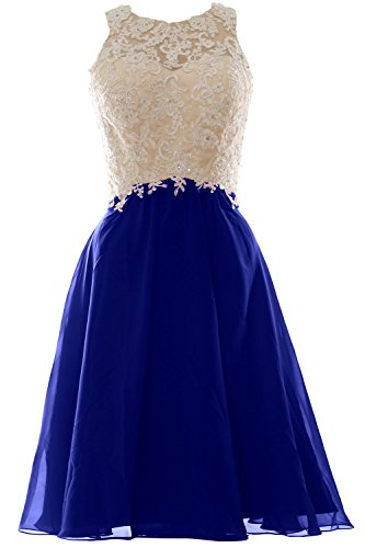 MACloth Women High Neck Lace Chiffon Short Prom Dress Formal Party Ball Gown Azul Real