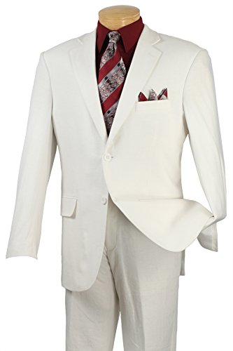 Fortino Landi Men's 3 Button Single Breasted Dress Suit 8022-White-44R