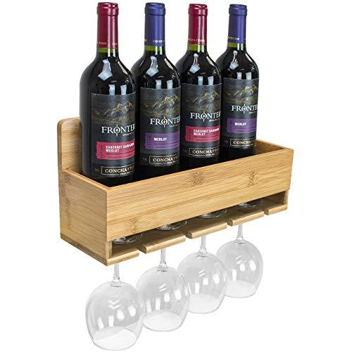 - Sorbus Bamboo Wall-Mounted Wine Rack - for Wine Bottles & Stemware Glasses - Elegant Wood Storage for Kitchen, Dining Room, Bar, Wine Cellar