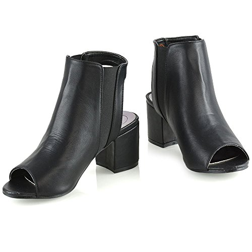 Ankle ESSEX Synthetic Heel 8 Open GLAM Low Black Chelsea Boots Back Womens Size Ladies 3 Peeptoe Shoes Leather Ap4zBAqxn