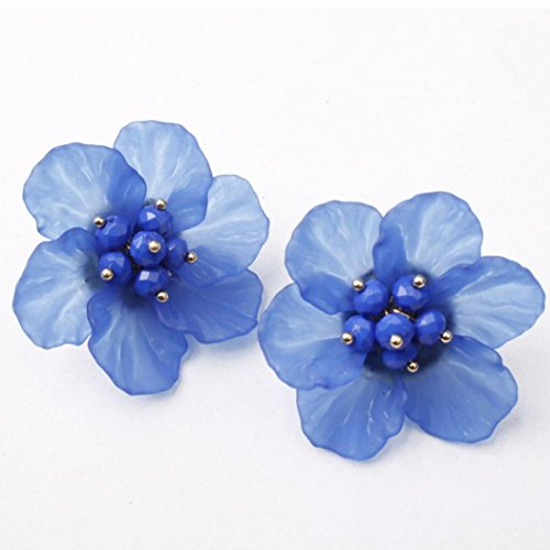 (Women Earrings Clearance! 2018 Flower Earrings Crystal Clip On Stud Earrings Fashion Jewelry Eardrop for Women Girls (Blue))