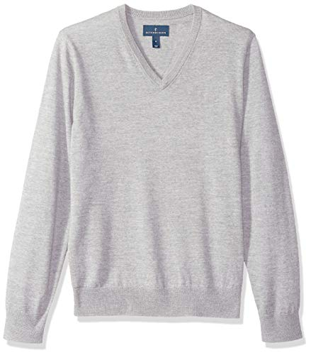 BUTTONED DOWN Men's Italian Merino Wool Lightweight Cashwool V-Neck Sweater, Grey Heather, XX-Large