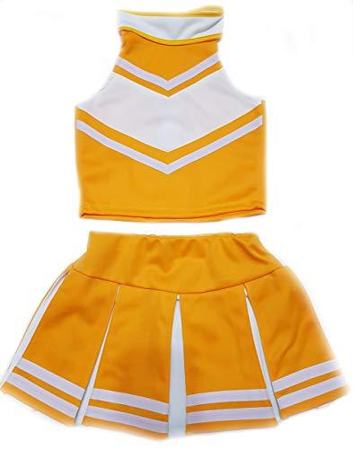 Little Girls' Cheerleader Cheerleading Outfit Uniform Costume Cosplay Yellow Gold/White (S / 2-5)