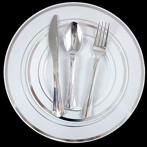 (Chengshang Long Home 30 People Dinner Wedding Disposable Plastic Plates Party Silverware Silver Rim)