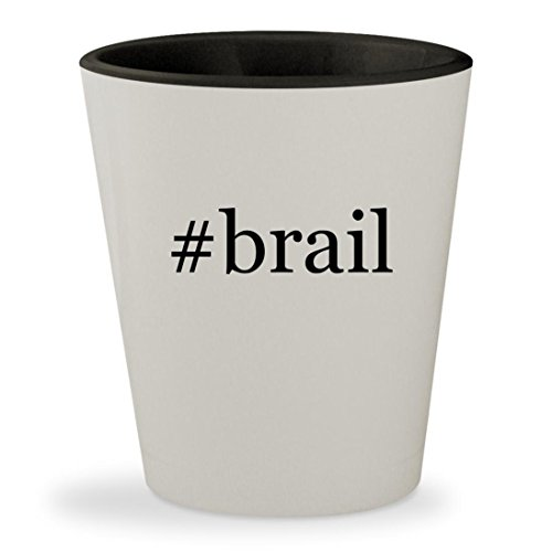 Tag Display Labeler - #brail - Hashtag White Outer & Black Inner Ceramic 1.5oz Shot Glass