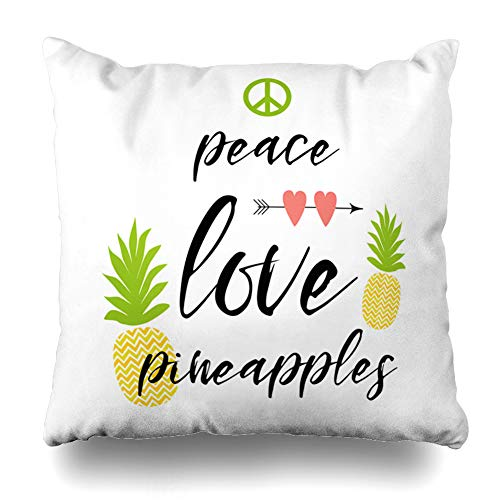 Ahawoso Throw Pillow Covers Decorated Text Peace Love Pineapples Fresh Party Food Drink Abstract Yellow Birthday Emblem Design Zippered Pillowcase Square Size 16 x 16 Inches Home Decor Cushion Case (Pillows Love Peace)