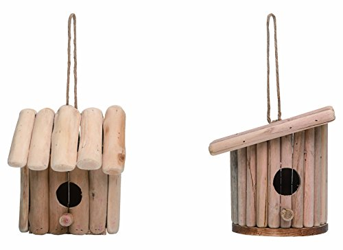 Transpac Imports, Inc. Primitive Natural Wood Log 7.5 x 6 inch Indoor Outdoor Birdhouse Set of (Primitive Log)