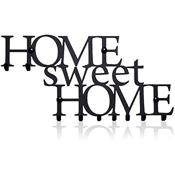 Key Holder for Wall Home Sweet Home (9-Hook Rack) Decorative, Metal Hanger for Front Door, Kitchen, or Garage | Store House, Work, Car, Vehicle Keys | Vintage Decor