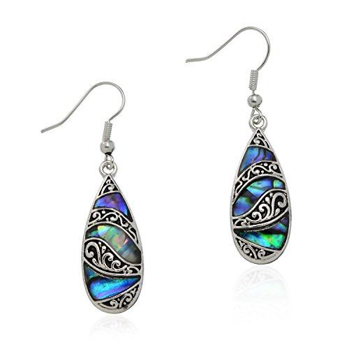 - PammyJ Silvertone Abalone with Detailed Tear Drop Dangle Earrings