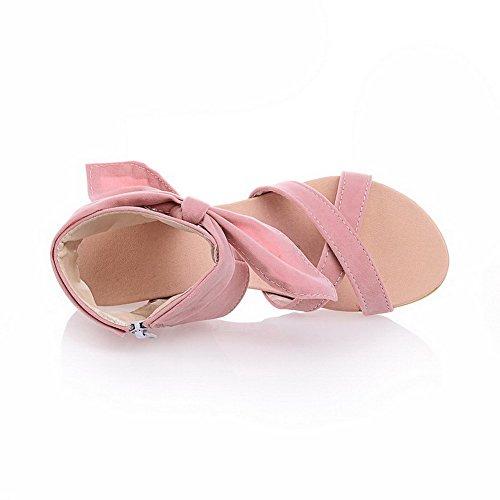 Amoonyfashion Mujeres Zipper Open Toe Low-heels Imitated Suede Solid Cuñas-sandalias Rosa