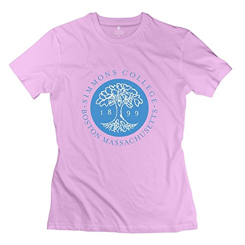 Pink 100% Cotton Simmons College T-shirts For Female Size S