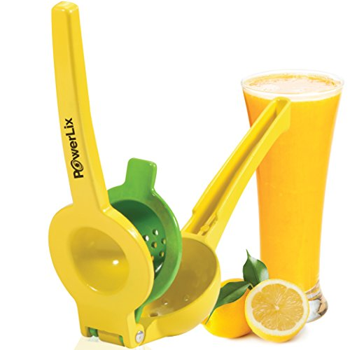 PowerLix 2 Bowl Aluminum Manual Lemon Squeezer with Orange Peeler (Juicer Press Yellow compare prices)
