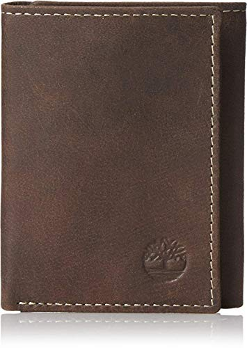 Timberland Mens Leather Trifold Wallet With ID Window, Dark Brown