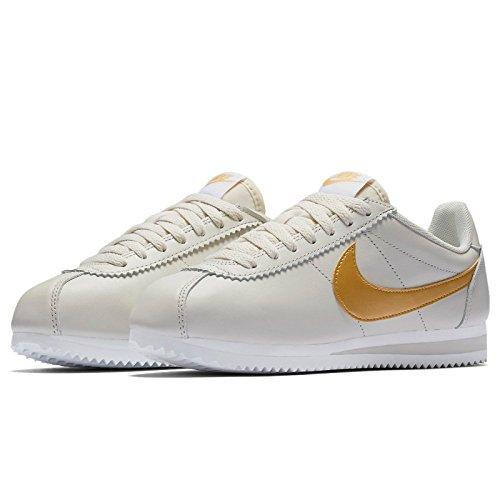Nike Classic Cortez In Pelle Da Donna Casual Scarpe Light Bone / Metallic Gold-white
