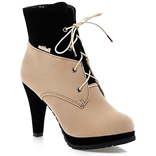 LongFengMa Women's High Heel Platform Lace Up Stiletto Ankel Boots Beige