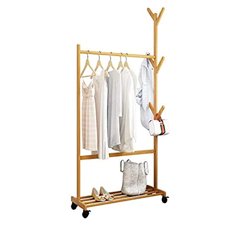 Amazon.com: KTOL - Perchero de bambú moderno, ajustable, de ...