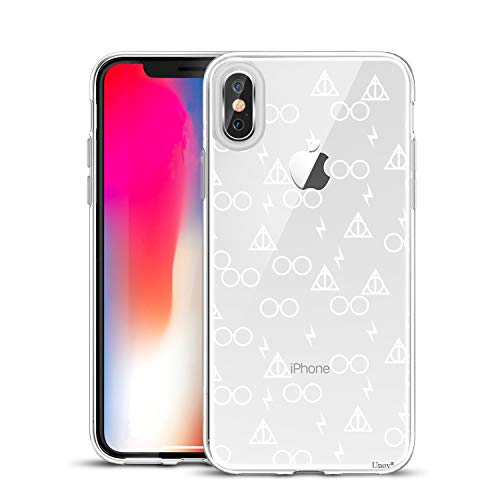 Design Slim Protective Soft TPU Bumper Embossed Pattern [Support Wireless Charging] Cover for iPhone Xs Max 6.5 Inch(Death Hallows) ()