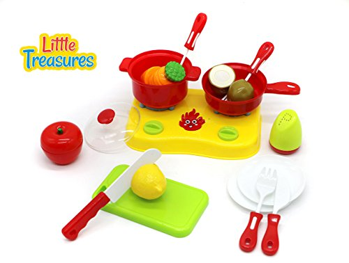 Little Treasures Chopping & Cooking Playset for Kids 3+ Includes a stove burner with knobs, pots with lid and sauté pan, cutting board and knife, Velcro fastened vegetables and seasoning bottle
