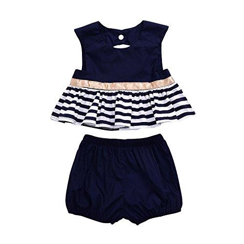 - Baby Girls 2pcs Clothes Skirt Set Backless Striped Bubble Dress+Bottom (6-12 Months, Blue)