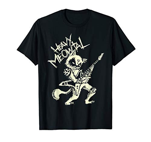 Heavy Metal Cats Gift Clothing Guitar Playing Cat Gothic  T-Shirt - Hard Rock Band Shirt