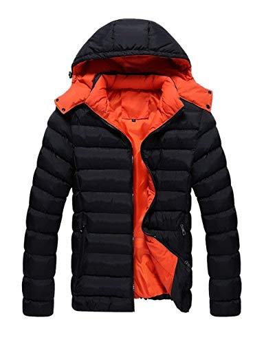 Men's Winter Coat Hooded Jacket Winter Jacket Long Outdoor Jacket Apparel Sleeve Side Pockets with Zipper Outerwear Coat Schwarz
