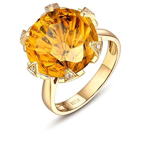 - Aooaz Jewelry 18K Gold Rings for Girls Natural Citrine Diamond Stone 10Ct Elegant Anniversary Wedding Bands Gold US Size 8