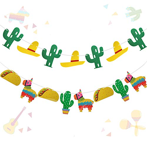 Sunsor Mexican Fiesta Themed Banner Rainbow Donkey Pinatas Taco Mini Sombrero Cactus Photo Props for Carnivals Festivals Cinco De Mayo Wedding Birthdays Party -