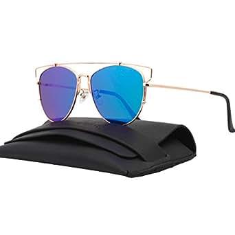 VIVIENFANG Technologic Crossbar Flat Lens Mirrored Aviator Sunglasses Cateye Shades 86472B(Gold,Blue)