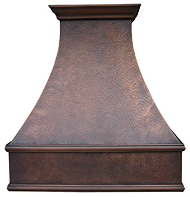 """Sinda Copper Kitchen Range Hood with High Airflow Centrifugal Blower, Includes SUS 304 Liner and Baffle Filter, High CFM Vent Motor, Wall/Island/Ceiling Mount, Width 30/36/42/48 in (W36""""xH39""""Wall)"""