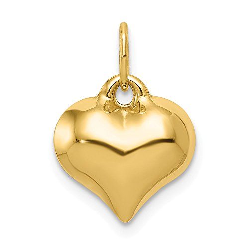 JewelrySuperMart Collection 14k Gold Hollow Small Puffed Heart Pendant Charm - (Yellow Gold, 0.63 Inch ()