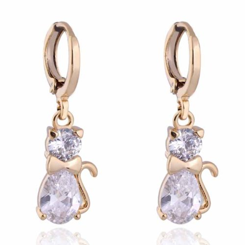 Cute Cat Crystal 18k Gold Plated Earrings Stud Women Jewelry + 925 Sterling Silver Earnuts Gs0131